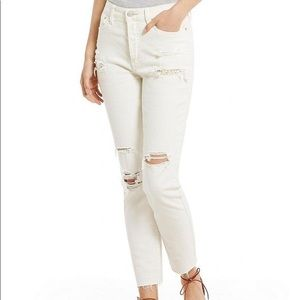 Free People Lacey Stilt Embellished White Jeans